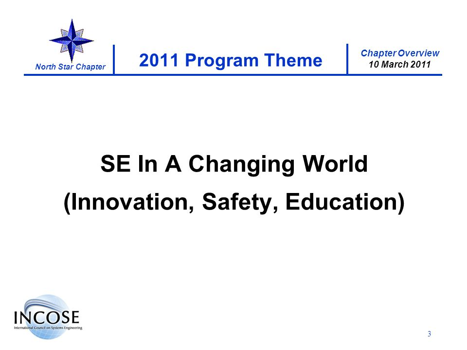 Chapter Overview 10 March 2011 North Star Chapter 3 2011 Program Theme SE In A Changing World (Innovation, Safety, Education)