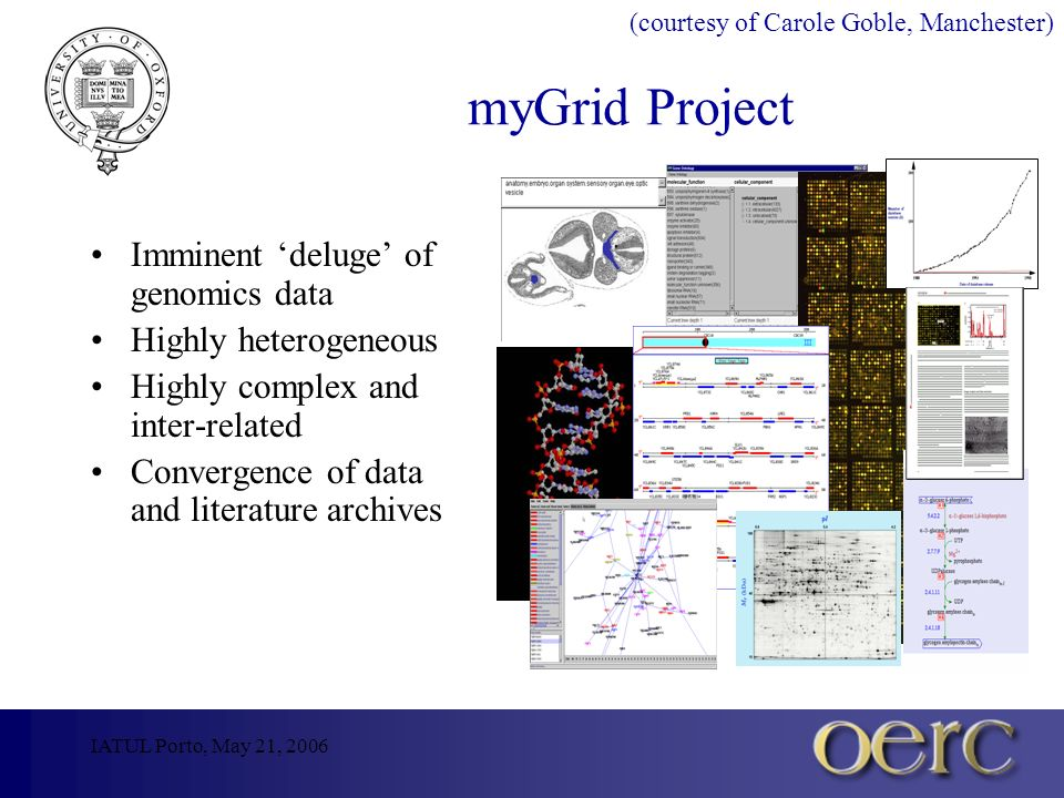 IATUL Porto, May 21, 2006 myGrid Project Imminent deluge of genomics data Highly heterogeneous Highly complex and inter-related Convergence of data and literature archives (courtesy of Carole Goble, Manchester)