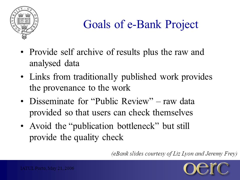 IATUL Porto, May 21, 2006 Goals of e-Bank Project Provide self archive of results plus the raw and analysed data Links from traditionally published work provides the provenance to the work Disseminate for Public Review – raw data provided so that users can check themselves Avoid the publication bottleneck but still provide the quality check (eBank slides courtesy of Liz Lyon and Jeremy Frey)