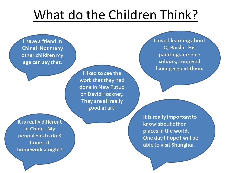 What do the Children Think. I have a friend in China.