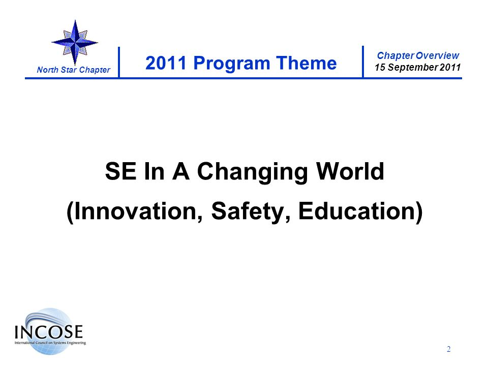 Chapter Overview 15 September 2011 North Star Chapter 2 2011 Program Theme SE In A Changing World (Innovation, Safety, Education)