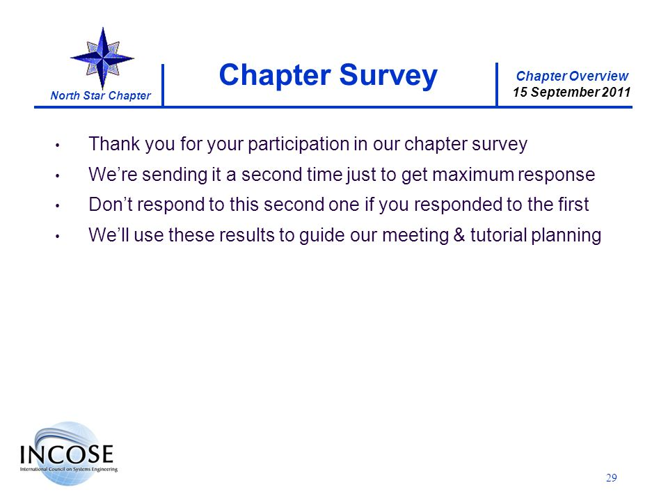 Chapter Overview 15 September 2011 North Star Chapter 29 Thank you for your participation in our chapter survey Were sending it a second time just to get maximum response Dont respond to this second one if you responded to the first Well use these results to guide our meeting & tutorial planning Chapter Survey