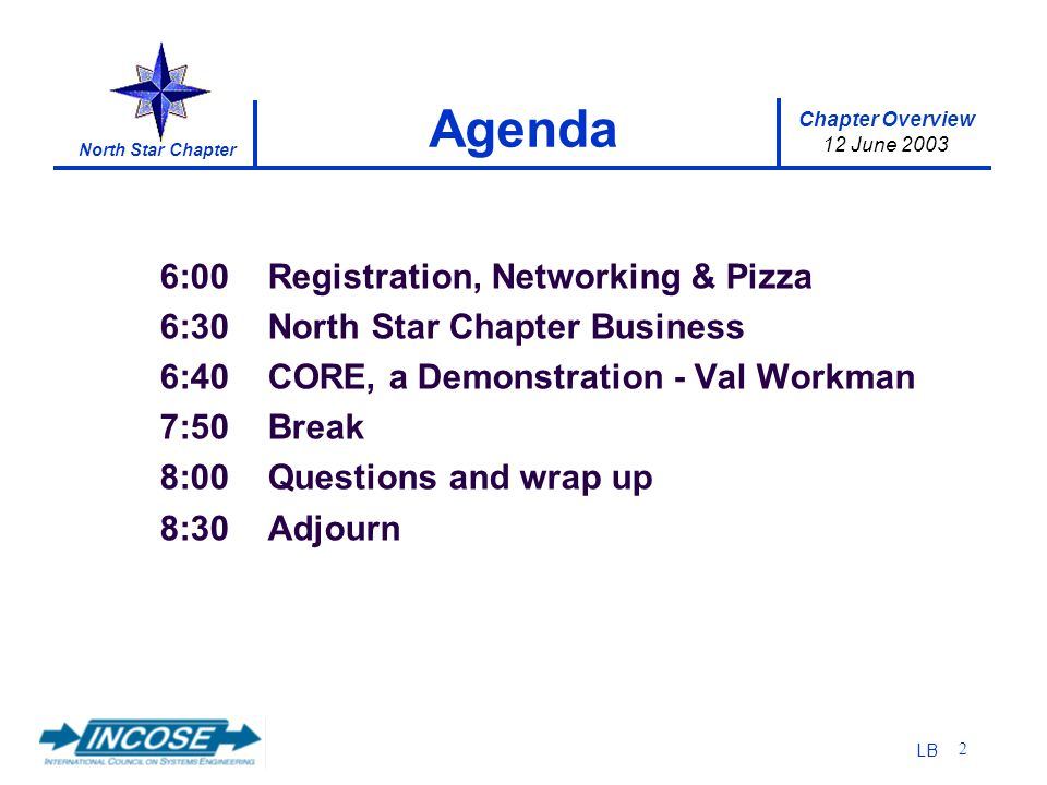 Chapter Overview 12 June 2003 North Star Chapter LB 2 6:00 Registration, Networking & Pizza 6:30 North Star Chapter Business 6:40 CORE, a Demonstration - Val Workman 7:50 Break 8:00 Questions and wrap up 8:30 Adjourn Agenda