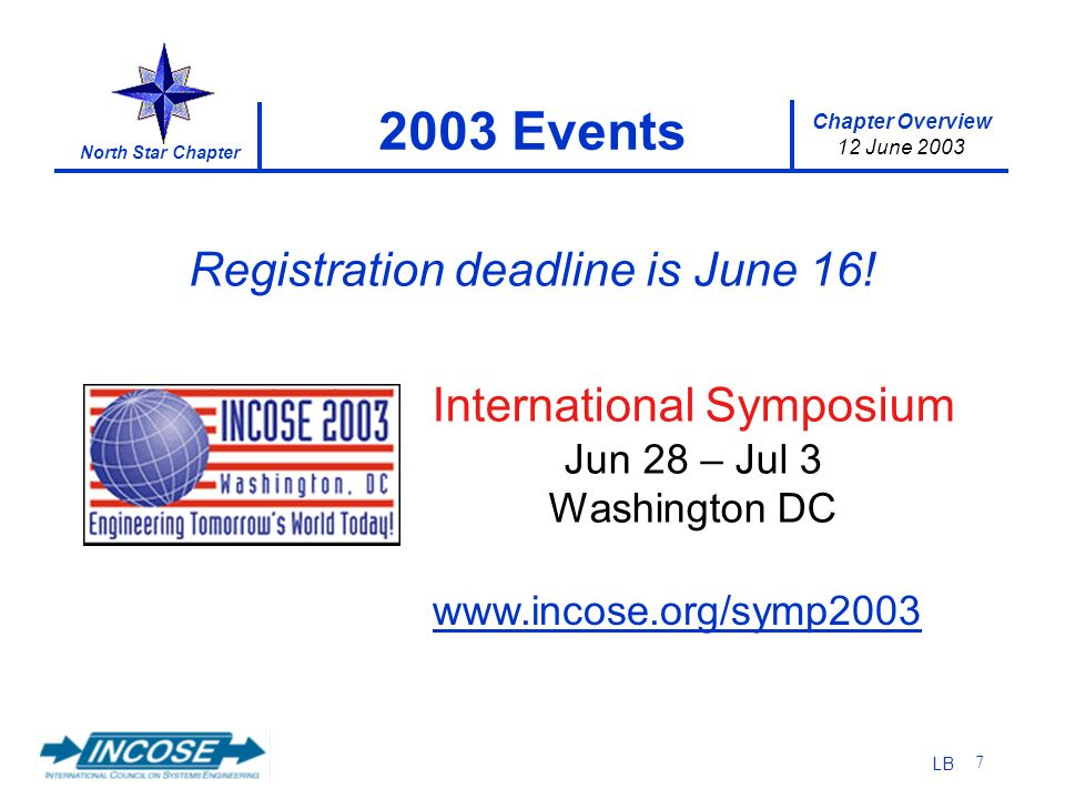Chapter Overview 12 June 2003 North Star Chapter LB 7 2003 Events International Symposium Jun 28 – Jul 3 Washington DC www.incose.org/symp2003 Registration deadline is June 16!