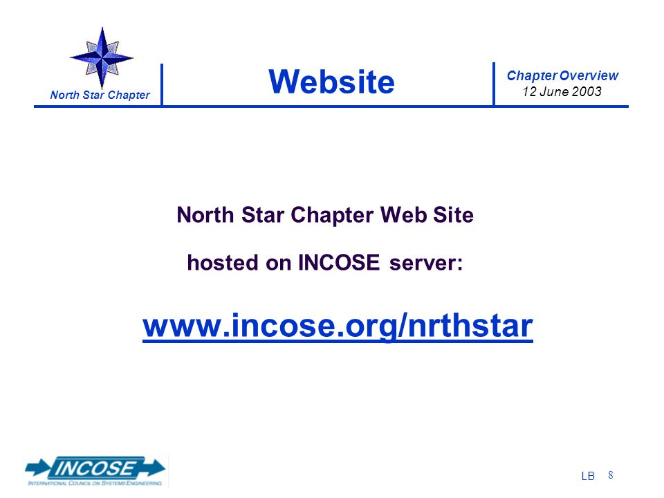 Chapter Overview 12 June 2003 North Star Chapter LB 8 Website North Star Chapter Web Site hosted on INCOSE server: www.incose.org/nrthstar