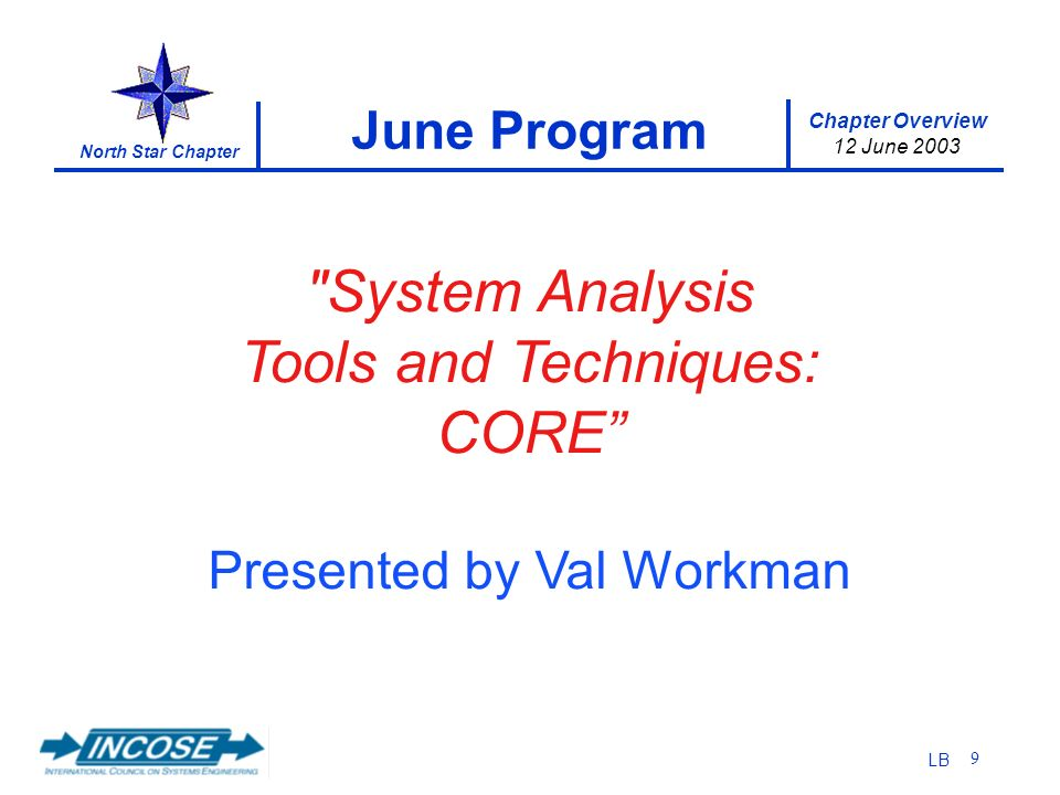 Chapter Overview 12 June 2003 North Star Chapter LB 9 June Program System Analysis Tools and Techniques: CORE Presented by Val Workman