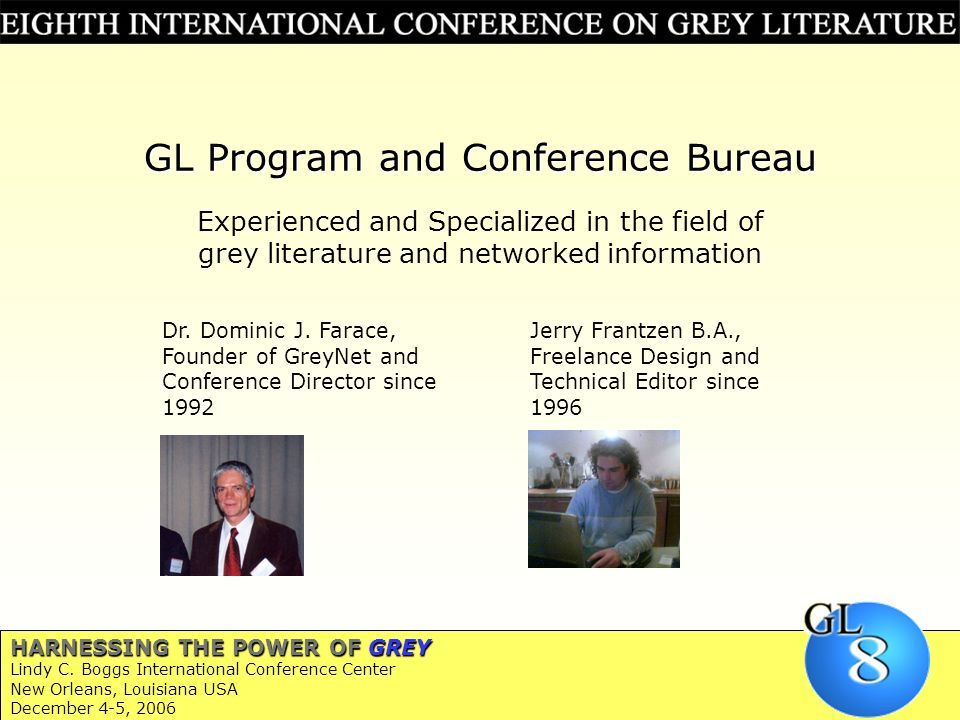GL Program and Conference Bureau Dr. Dominic J.