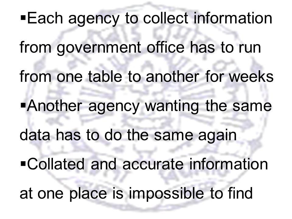 19 Each agency to collect information from government office has to run from one table to another for weeks Another agency wanting the same data has to do the same again Collated and accurate information at one place is impossible to find