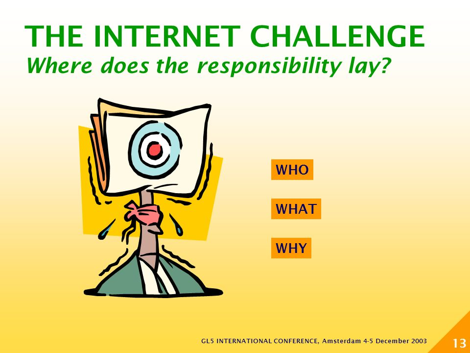 GL5 INTERNATIONAL CONFERENCE, Amsterdam 4-5 December 2003 13 THE INTERNET CHALLENGE Where does the responsibility lay.