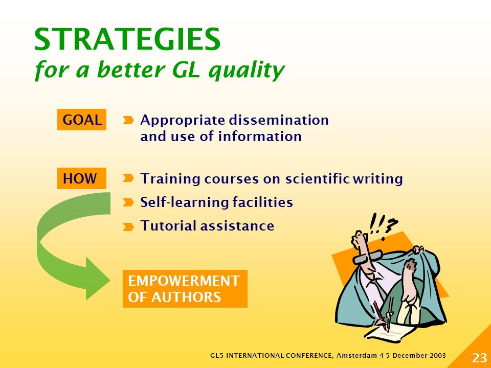GL5 INTERNATIONAL CONFERENCE, Amsterdam 4-5 December 2003 23 STRATEGIES for a better GL quality EMPOWERMENT OF AUTHORS HOWTraining courses on scientific writing Self-learning facilities Tutorial assistance GOALAppropriate dissemination and use of information
