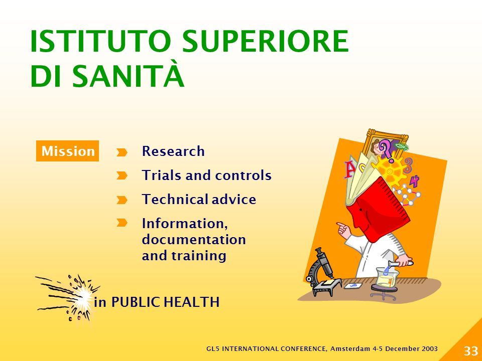 GL5 INTERNATIONAL CONFERENCE, Amsterdam 4-5 December 2003 33 Research Trials and controls Technical advice Information, documentation and training Mission ISTITUTO SUPERIORE DI SANITÀ in PUBLIC HEALTH