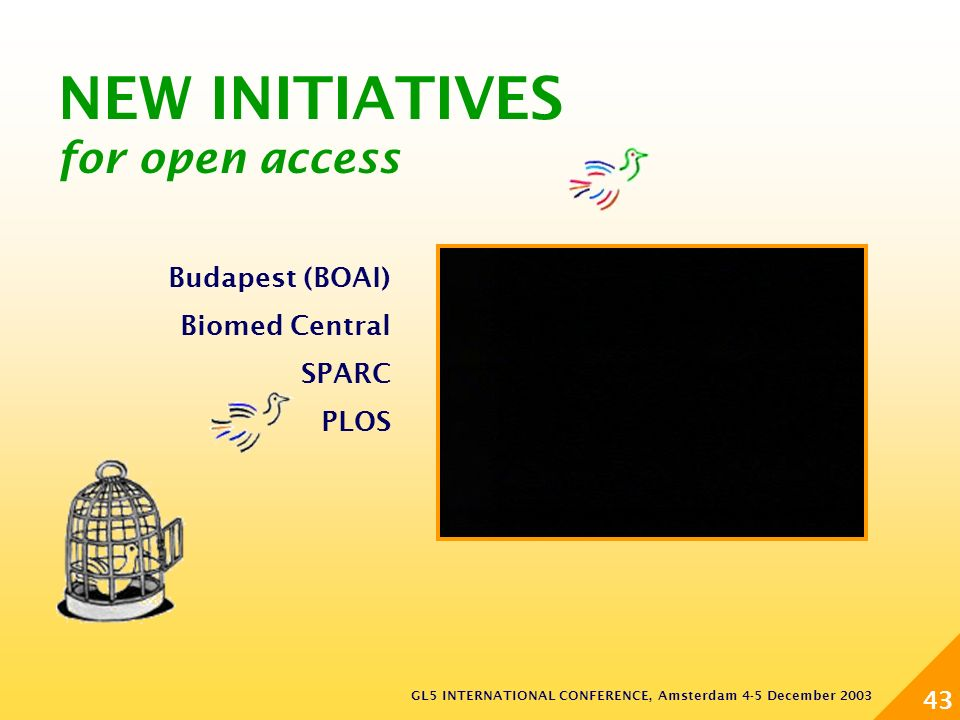 GL5 INTERNATIONAL CONFERENCE, Amsterdam 4-5 December 2003 43 NEW INITIATIVES for open access Budapest (BOAI) Biomed Central SPARC PLOS