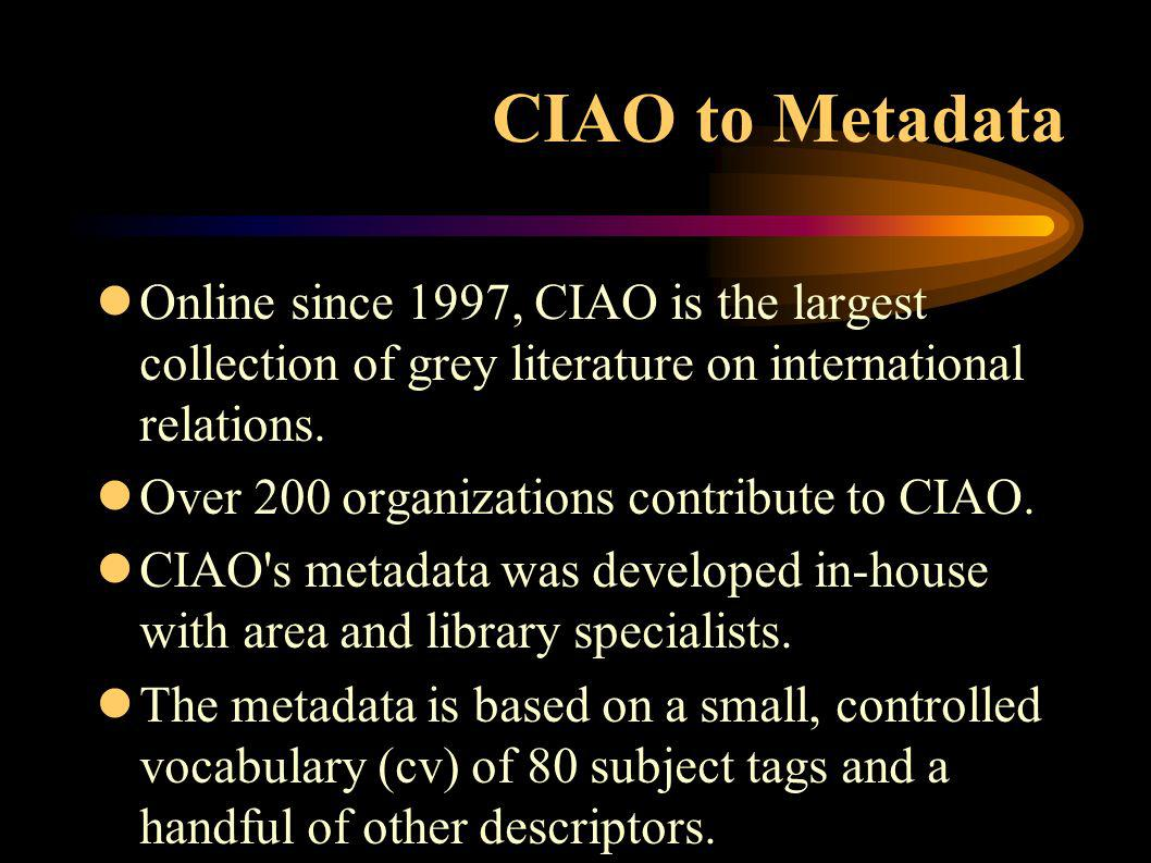 CIAO to Metadata lOnline since 1997, CIAO is the largest collection of grey literature on international relations.