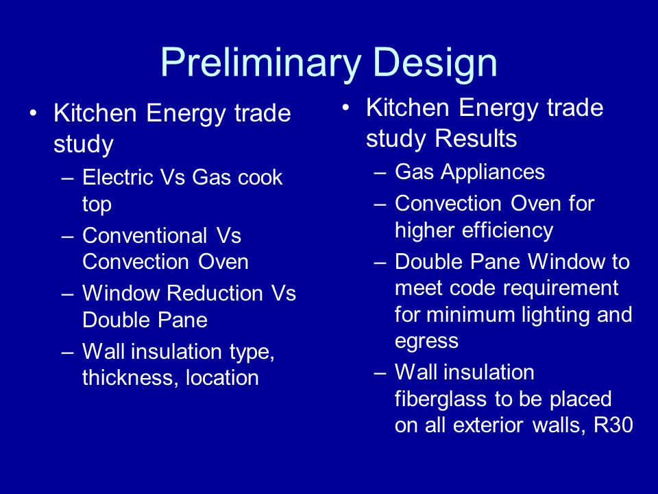 Preliminary Design Kitchen Energy trade study –Electric Vs Gas cook top –Conventional Vs Convection Oven –Window Reduction Vs Double Pane –Wall insulation type, thickness, location Kitchen Energy trade study Results –Gas Appliances –Convection Oven for higher efficiency –Double Pane Window to meet code requirement for minimum lighting and egress –Wall insulation fiberglass to be placed on all exterior walls, R30