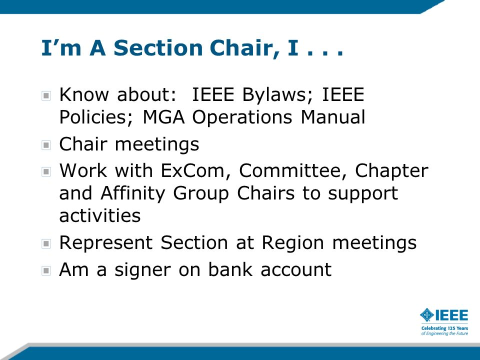 Im A Section Chair, I...