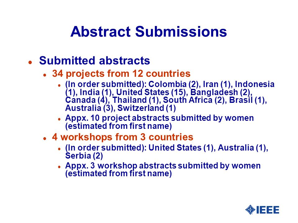 Abstract Submissions l Submitted abstracts l 34 projects from 12 countries l (In order submitted): Colombia (2), Iran (1), Indonesia (1), India (1), United States (15), Bangladesh (2), Canada (4), Thailand (1), South Africa (2), Brasil (1), Australia (3), Switzerland (1) l Appx.