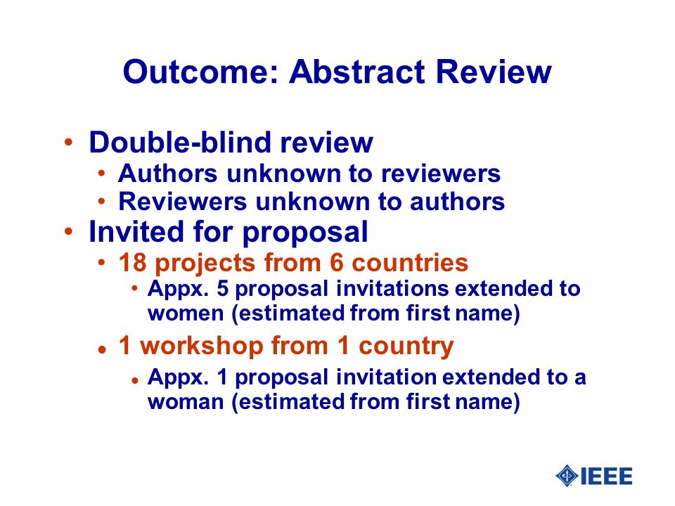 Outcome: Abstract Review Double-blind review Authors unknown to reviewers Reviewers unknown to authors Invited for proposal 18 projects from 6 countries Appx.