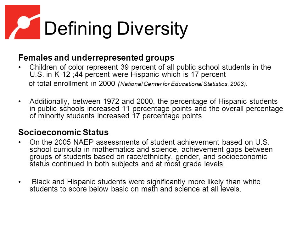 Defining Diversity Females and underrepresented groups Children of color represent 39 percent of all public school students in the U.S.