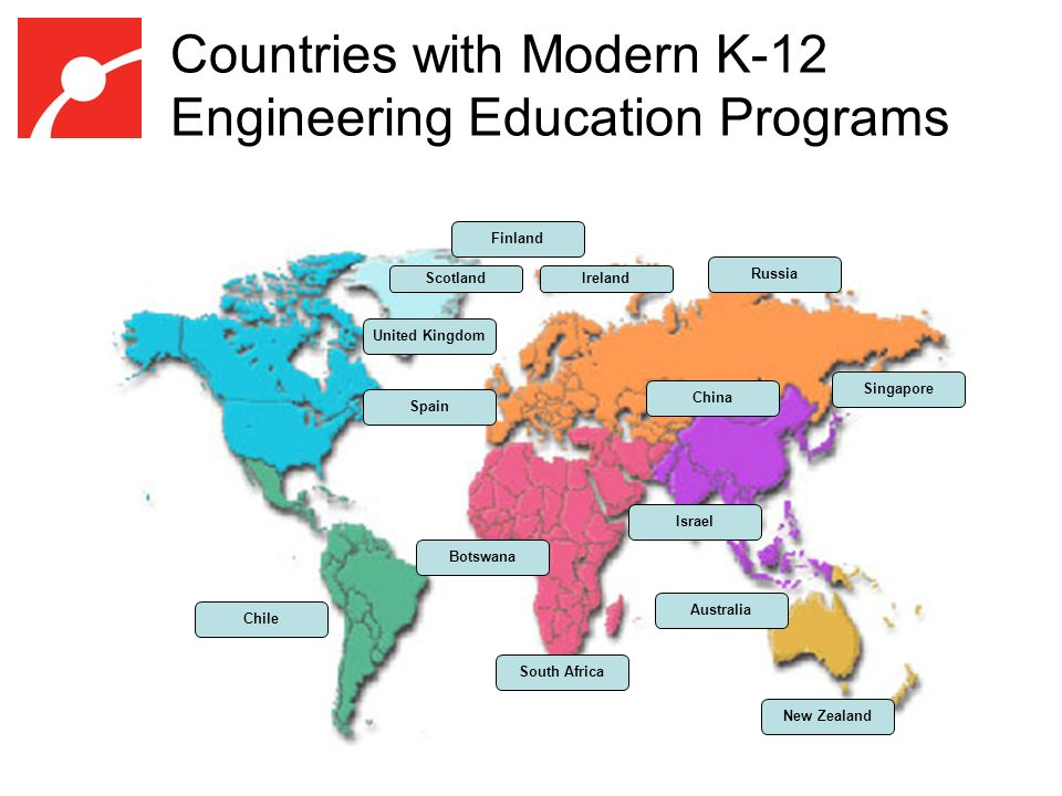Countries with Modern K-12 Engineering Education Programs United Kingdom Israel New Zealand South Africa Botswana Australia Russia Singapore Chile Spain Finland ScotlandIreland China