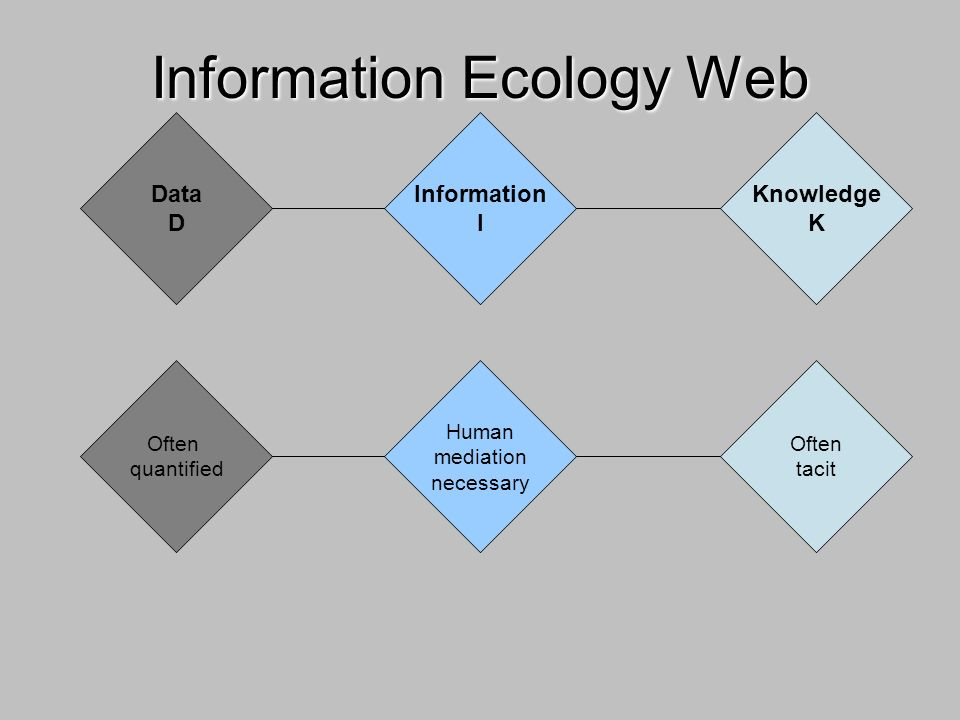 Information Ecology Web Often quantified Human mediation necessary Often tacit Data D Information I Knowledge K