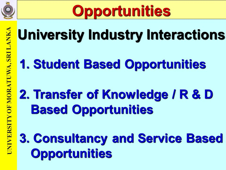 University Industry Interactions 3. Consultancy and Service Based Opportunities 2.