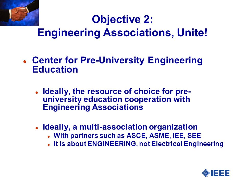 Objective 2: Engineering Associations, Unite.