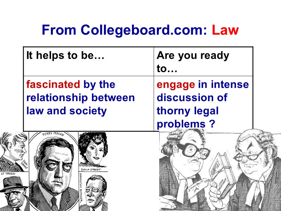 From Collegeboard.com: Law It helps to be…Are you ready to… fascinated by the relationship between law and society engage in intense discussion of thorny legal problems