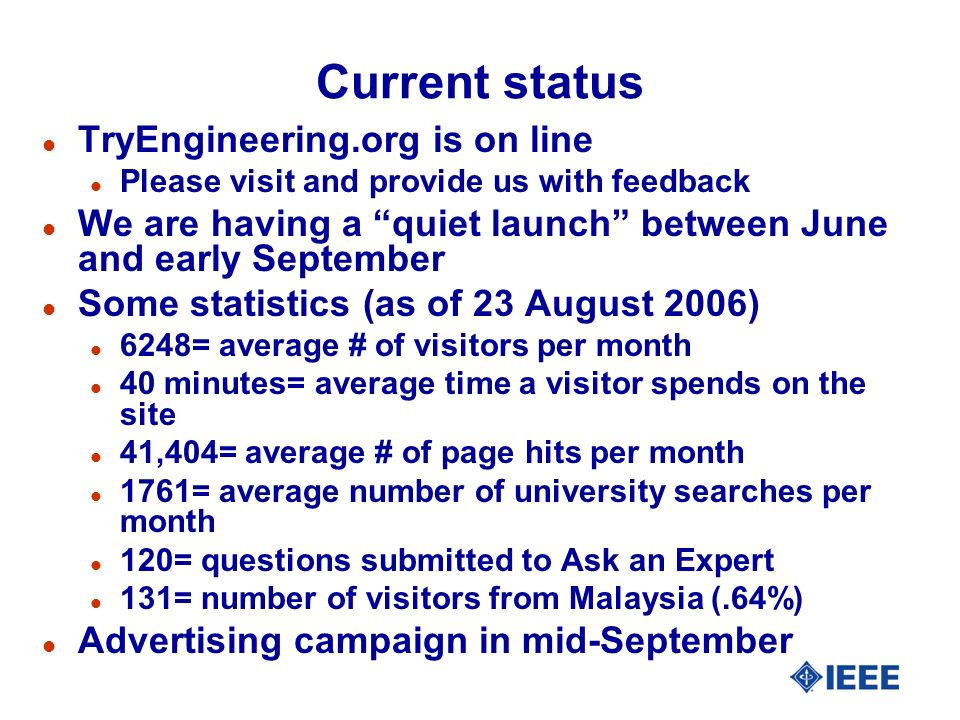 Current status l TryEngineering.org is on line l Please visit and provide us with feedback l We are having a quiet launch between June and early September l Some statistics (as of 23 August 2006) l 6248= average # of visitors per month l 40 minutes= average time a visitor spends on the site l 41,404= average # of page hits per month l 1761= average number of university searches per month l 120= questions submitted to Ask an Expert l 131= number of visitors from Malaysia (.64%) l Advertising campaign in mid-September