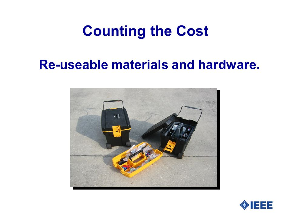 Re-useable materials and hardware. Counting the Cost