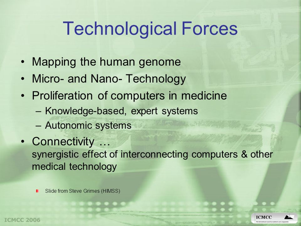 Technological Forces Mapping the human genome Micro- and Nano- Technology Proliferation of computers in medicine –Knowledge-based, expert systems –Autonomic systems Connectivity … synergistic effect of interconnecting computers & other medical technology Slide from Steve Grimes (HIMSS)
