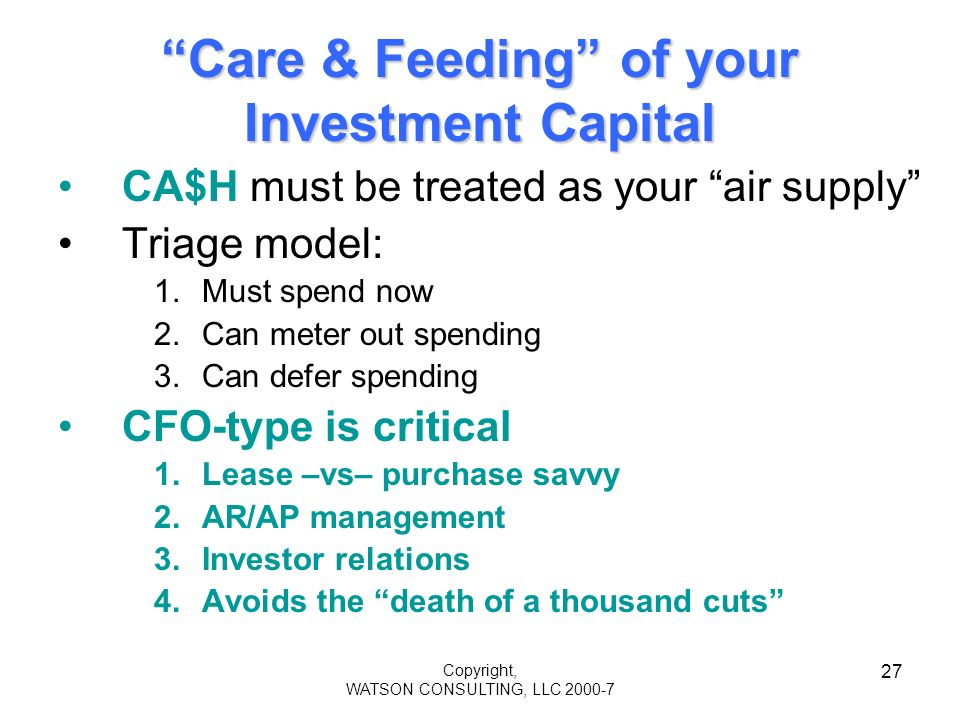 Copyright, WATSON CONSULTING, LLC 2000-7 27 Care & Feeding of your Investment Capital CA$H must be treated as your air supply Triage model: 1.Must spend now 2.Can meter out spending 3.Can defer spending CFO-type is critical 1.Lease –vs– purchase savvy 2.AR/AP management 3.Investor relations 4.Avoids the death of a thousand cuts