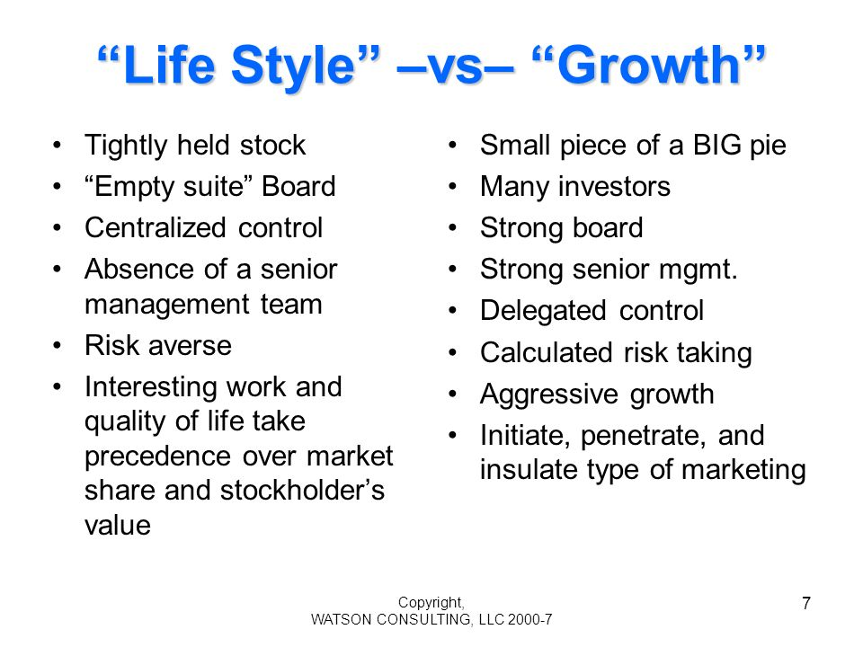 Copyright, WATSON CONSULTING, LLC 2000-7 7 Life Style –vs– Growth Tightly held stock Empty suite Board Centralized control Absence of a senior management team Risk averse Interesting work and quality of life take precedence over market share and stockholders value Small piece of a BIG pie Many investors Strong board Strong senior mgmt.