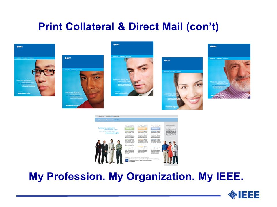 My Profession. My Organization. My IEEE. Print Collateral & Direct Mail (cont)