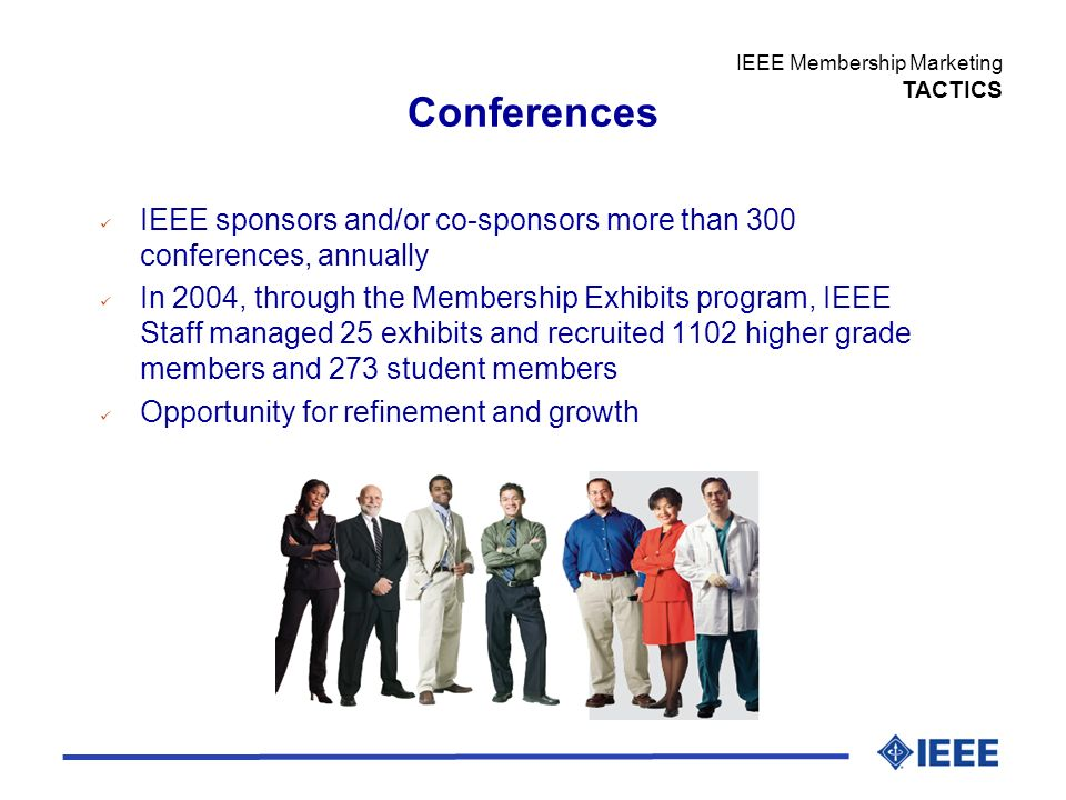 Conferences IEEE sponsors and/or co-sponsors more than 300 conferences, annually In 2004, through the Membership Exhibits program, IEEE Staff managed 25 exhibits and recruited 1102 higher grade members and 273 student members Opportunity for refinement and growth