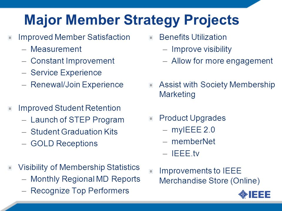 Major Member Strategy Projects Improved Member Satisfaction –Measurement –Constant Improvement –Service Experience –Renewal/Join Experience Improved Student Retention –Launch of STEP Program –Student Graduation Kits –GOLD Receptions Visibility of Membership Statistics –Monthly Regional MD Reports –Recognize Top Performers Benefits Utilization –Improve visibility –Allow for more engagement Assist with Society Membership Marketing Product Upgrades –myIEEE 2.0 –memberNet –IEEE.tv Improvements to IEEE Merchandise Store (Online)