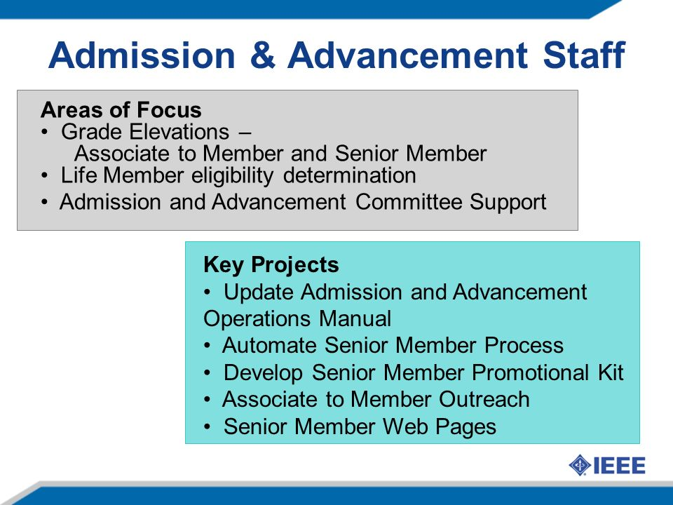 Admission & Advancement Staff Areas of Focus Grade Elevations – Associate to Member and Senior Member Life Member eligibility determination Admission and Advancement Committee Support Key Projects Update Admission and Advancement Operations Manual Automate Senior Member Process Develop Senior Member Promotional Kit Associate to Member Outreach Senior Member Web Pages