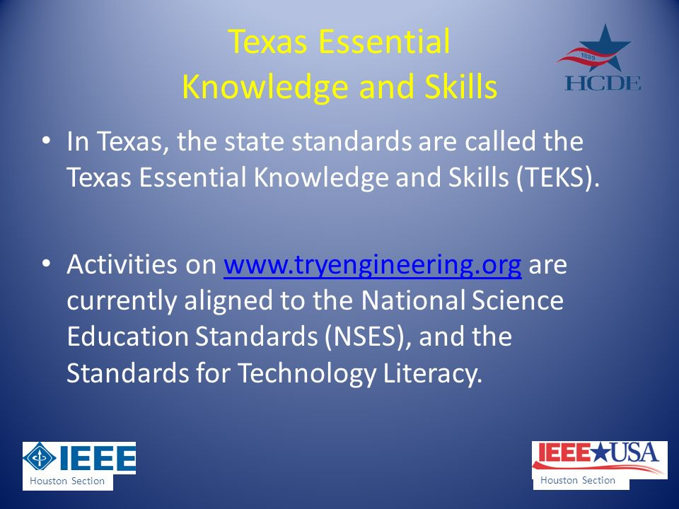 Texas Essential Knowledge and Skills In Texas, the state standards are called the Texas Essential Knowledge and Skills (TEKS).