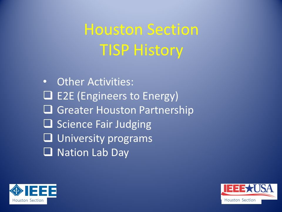 Houston Section TISP History Other Activities: E2E (Engineers to Energy) Greater Houston Partnership Science Fair Judging University programs Nation Lab Day Houston Section