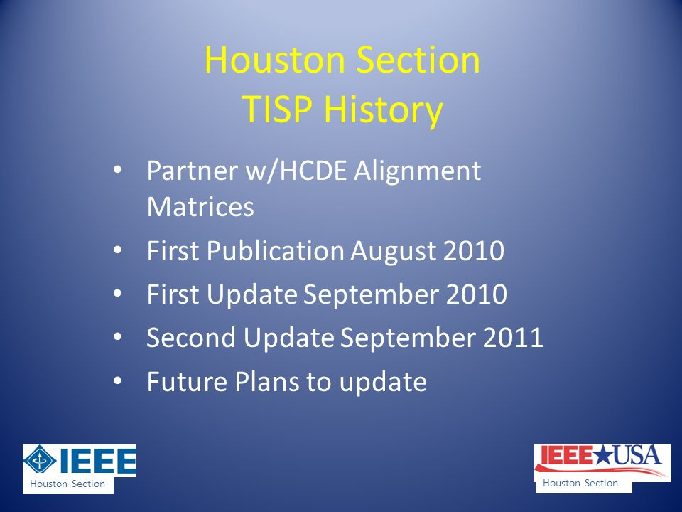 Houston Section TISP History Partner w/HCDE Alignment Matrices First Publication August 2010 First Update September 2010 Second Update September 2011 Future Plans to update Houston Section