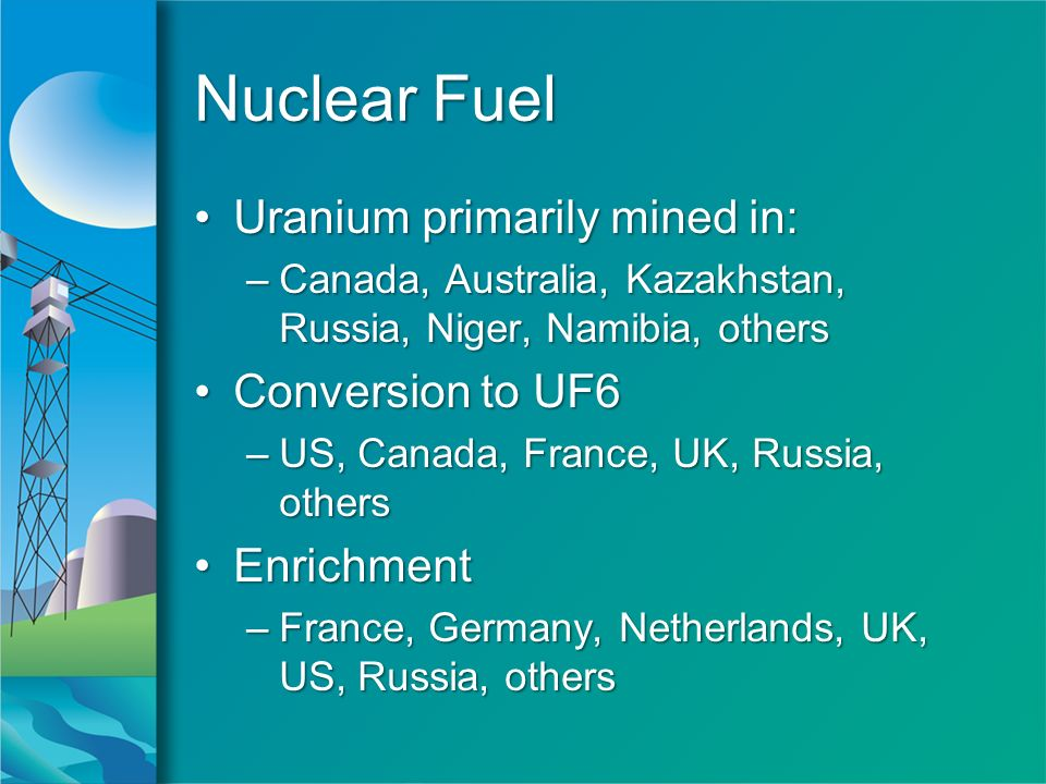 Nuclear Fuel Uranium primarily mined in:Uranium primarily mined in: –Canada, Australia, Kazakhstan, Russia, Niger, Namibia, others Conversion to UF6Conversion to UF6 –US, Canada, France, UK, Russia, others EnrichmentEnrichment –France, Germany, Netherlands, UK, US, Russia, others Uranium primarily mined in:Uranium primarily mined in: –Canada, Australia, Kazakhstan, Russia, Niger, Namibia, others Conversion to UF6Conversion to UF6 –US, Canada, France, UK, Russia, others EnrichmentEnrichment –France, Germany, Netherlands, UK, US, Russia, others