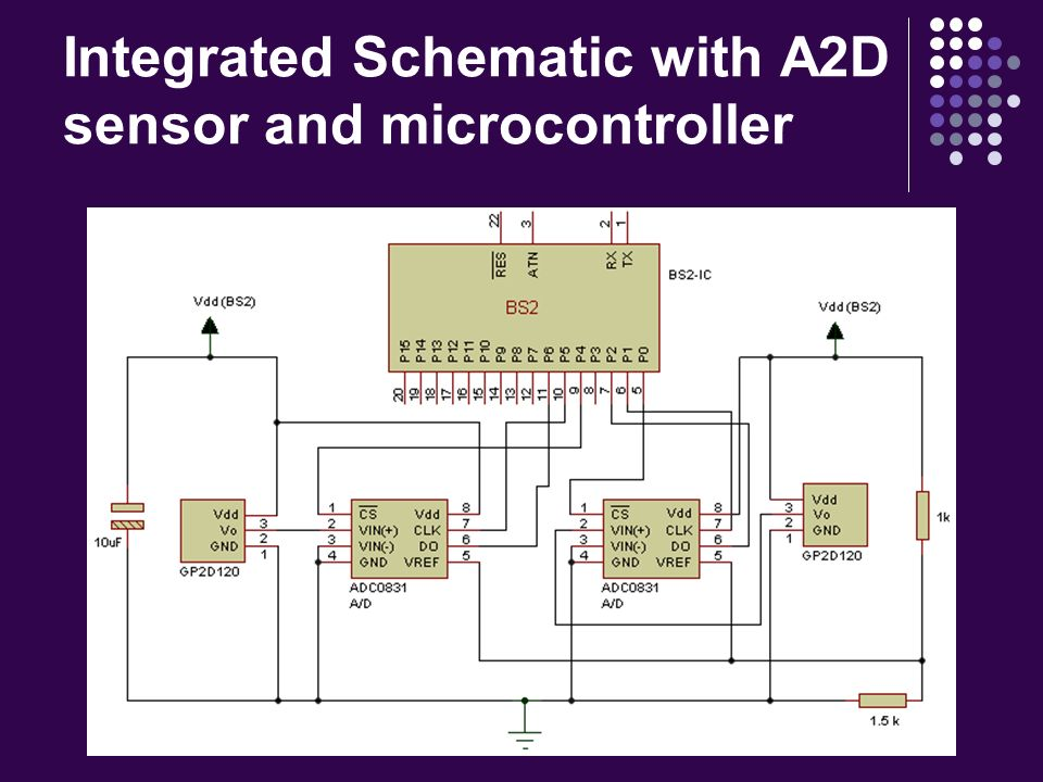 Integrated Schematic with A2D sensor and microcontroller