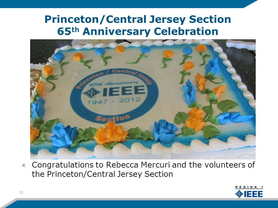 Princeton/Central Jersey Section 65 th Anniversary Celebration Congratulations to Rebecca Mercuri and the volunteers of the Princeton/Central Jersey Section 13