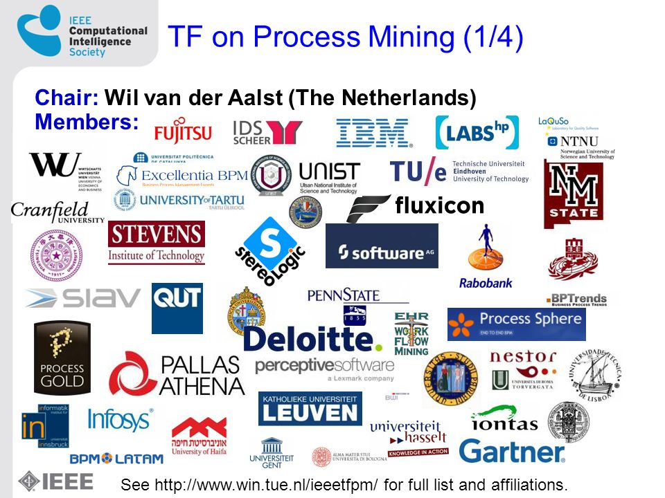 TF on Process Mining (1/4) Chair: Wil van der Aalst (The Netherlands) Members: See http://www.win.tue.nl/ieeetfpm/ for full list and affiliations.