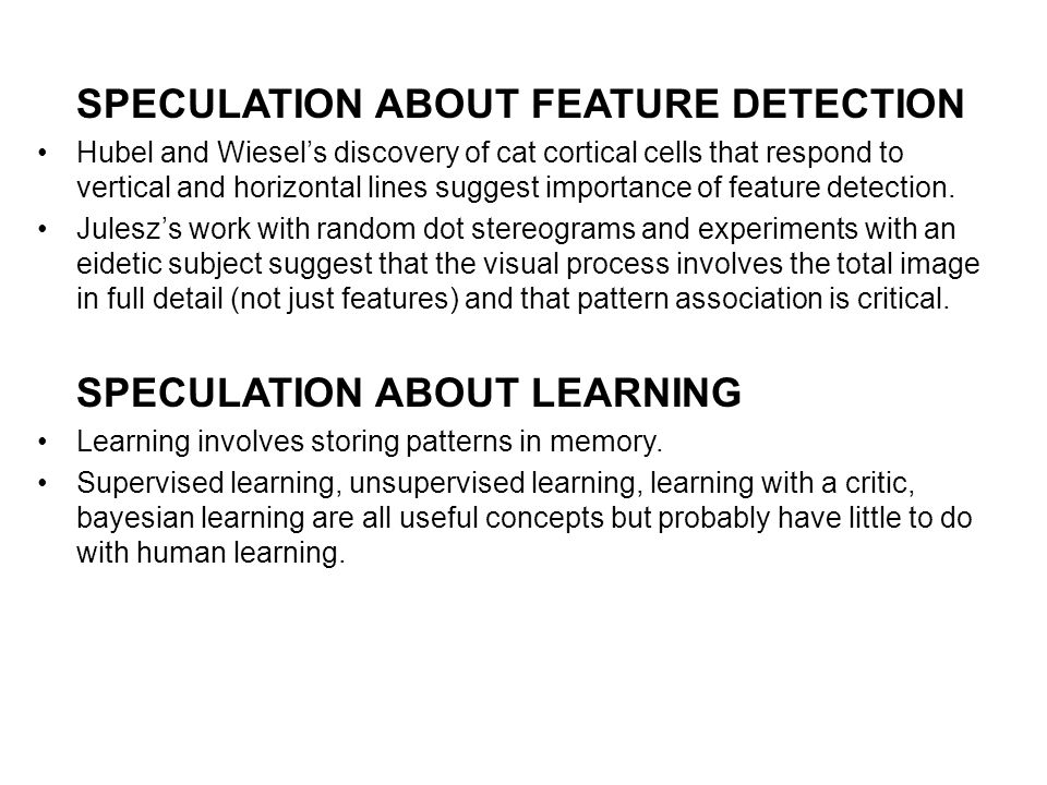 SPECULATION ABOUT FEATURE DETECTION Hubel and Wiesels discovery of cat cortical cells that respond to vertical and horizontal lines suggest importance of feature detection.