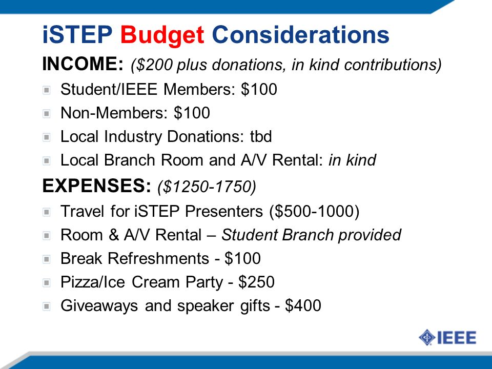 iSTEP Budget Considerations INCOME: ($200 plus donations, in kind contributions) Student/IEEE Members: $100 Non-Members: $100 Local Industry Donations: tbd Local Branch Room and A/V Rental: in kind EXPENSES: ($1250-1750) Travel for iSTEP Presenters ($500-1000) Room & A/V Rental – Student Branch provided Break Refreshments - $100 Pizza/Ice Cream Party - $250 Giveaways and speaker gifts - $400