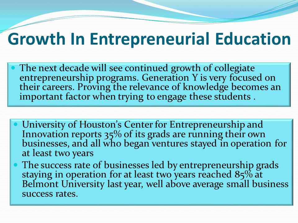 Growth In Entrepreneurial Education The next decade will see continued growth of collegiate entrepreneurship programs.