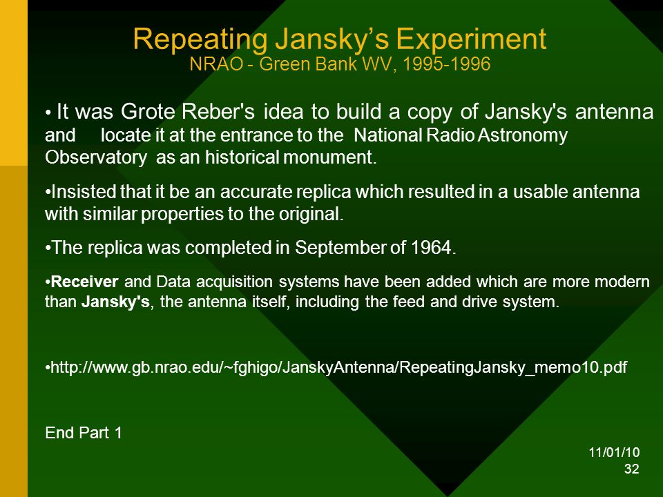 11/01/10 32 Repeating Janskys Experiment NRAO - Green Bank WV, 1995-1996 It was Grote Reber s idea to build a copy of Jansky s antenna and locate it at the entrance to the National Radio Astronomy Observatory as an historical monument.