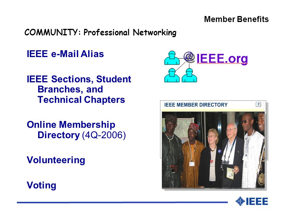 IEEE  Alias IEEE Sections, Student Branches, and Technical Chapters Online Membership Directory (4Q-2006) Volunteering Voting COMMUNITY: Professional Networking Member Benefits