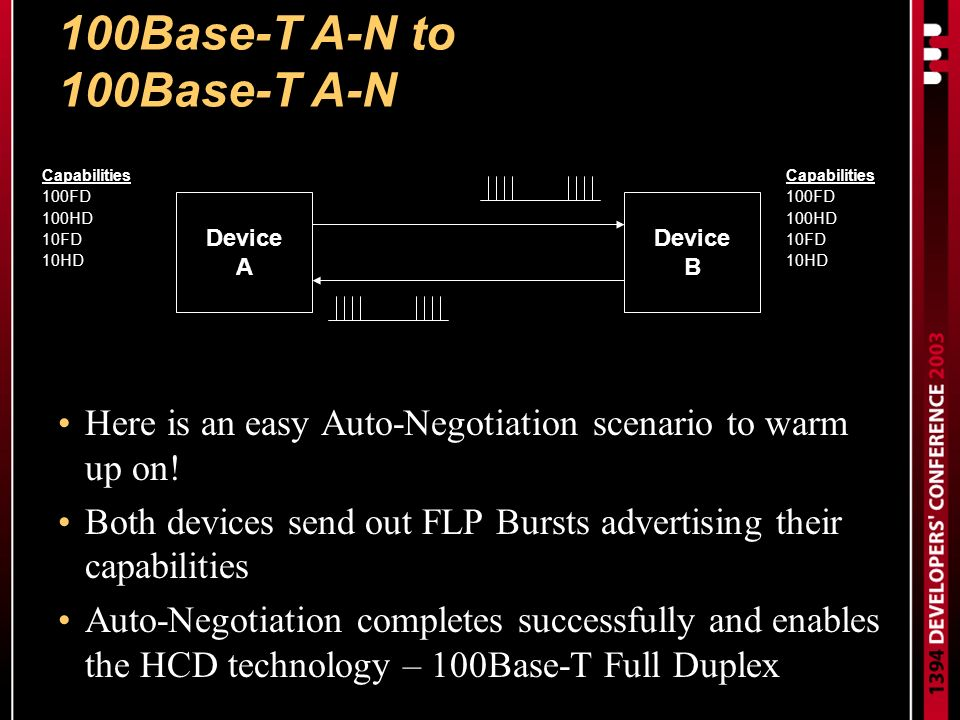 100Base-T A-N to 100Base-T A-N Here is an easy Auto-Negotiation scenario to warm up on.