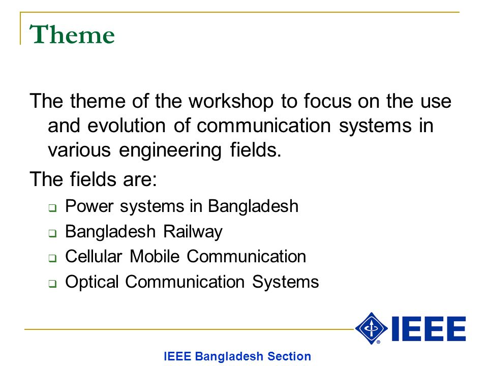 Theme The theme of the workshop to focus on the use and evolution of communication systems in various engineering fields.